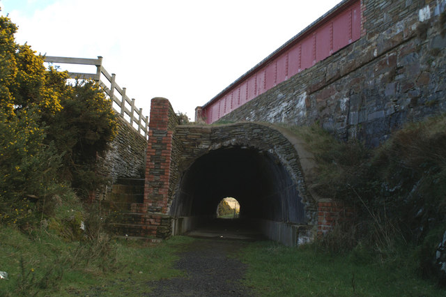 Manx Northern Railway - view northwards through the bridge carrying the A4 at Ballaquine