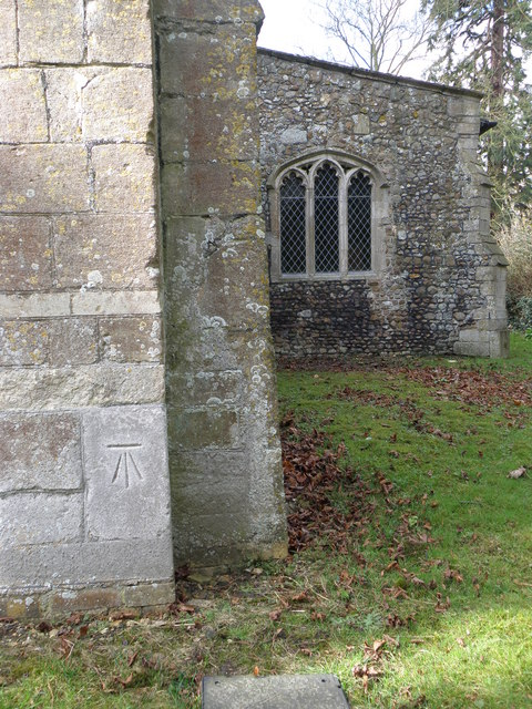 Bench Mark on Grafham  Church