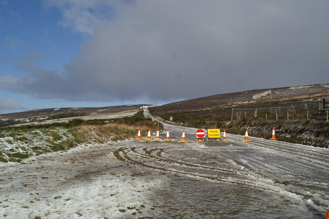 The TT course's Mountain Road, closed by snow