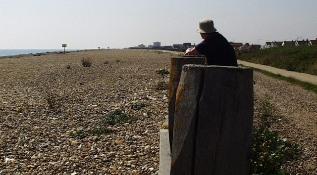 Looking west along Lancing Beach
