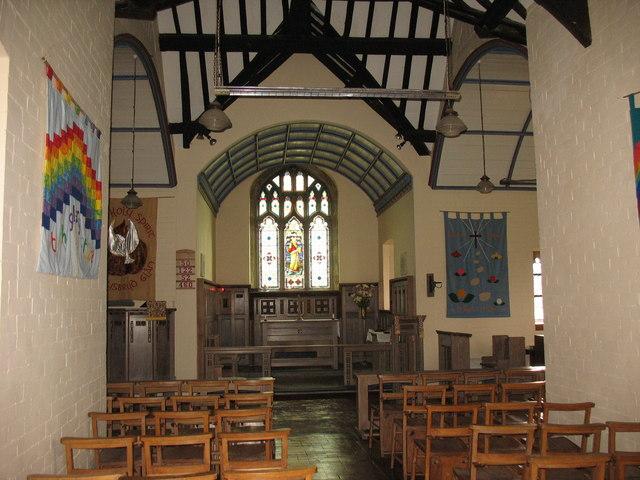 The nave and sanctuary of Eglwys St Gallgo, Llanallgo