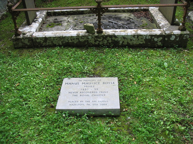 A memorial to a victim of the Royal Charter Sinking