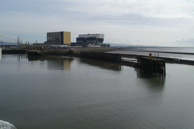 Heysham Power Station, its outfalls, and the harbour's southern jetty