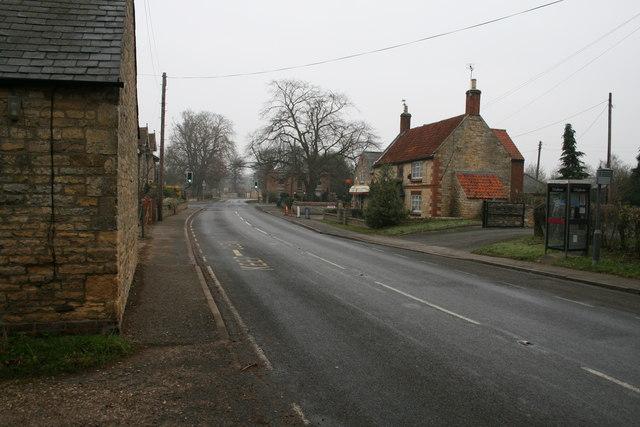 Looking down the A607 towards the Post Office