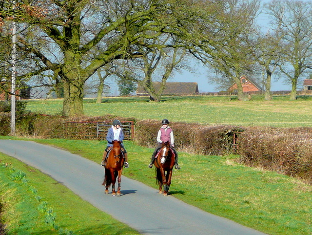 Two riders on a country road