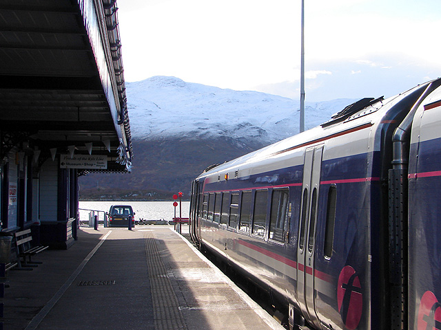 A Scotrail train at Kyle of Lochalsh