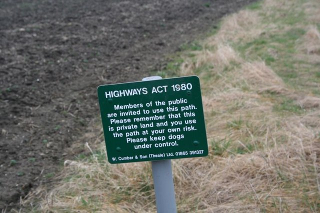 Sign along the footpath
