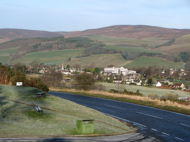 Selkirk from the carpark on the A699