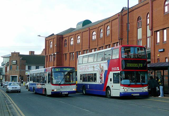 Bus stops and Police Station, Bilston Street, Wolverhampton