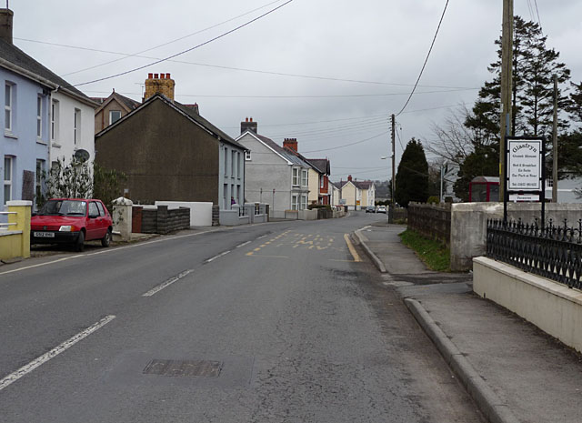 The A485 in Llanybydder