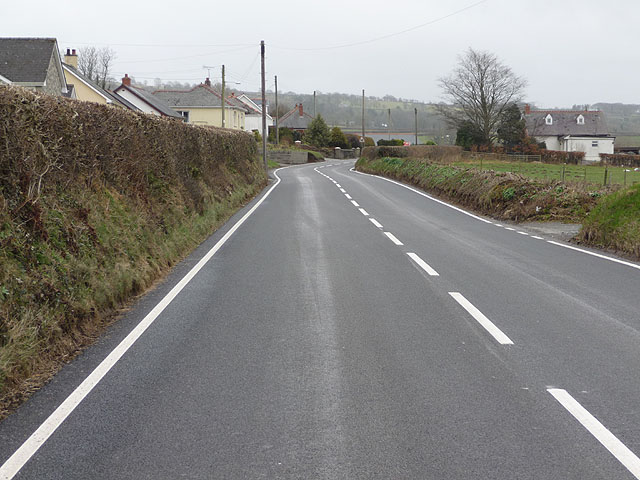 The A485 approaching Aber-Giâr