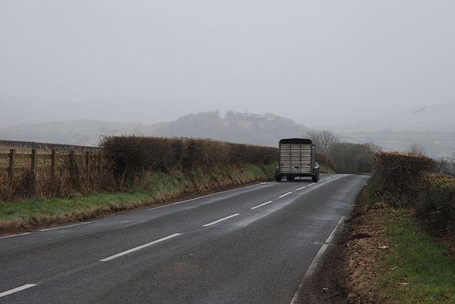 The B4338 near Cefnrhuddlan Uchaf farm