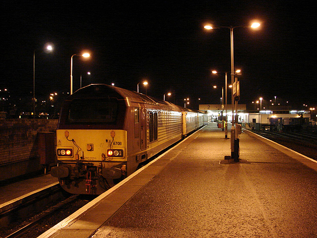 Night-time scene at Fort William Station