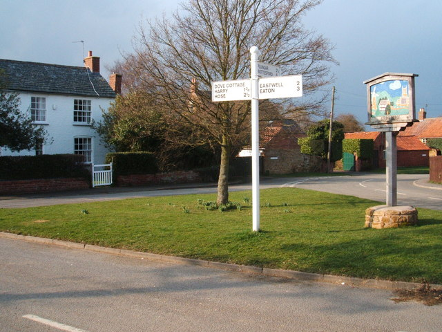 Crossroads, Stathern, with signs