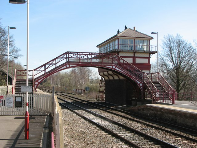 Signal box and line at Haltwhistle Station