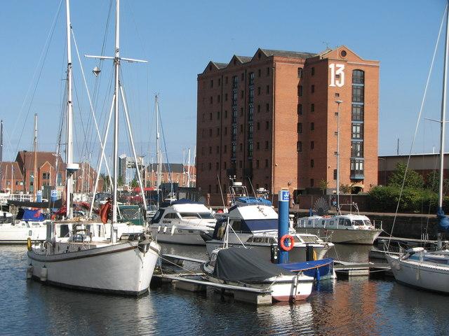 Warehouse 13 and yachts at The Marina Hull