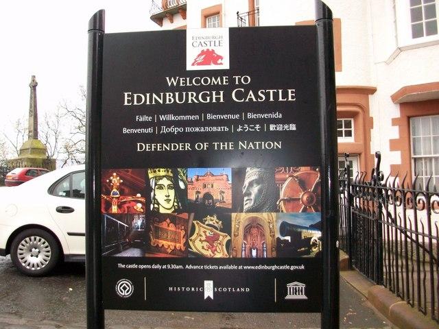 Sign outside Edinburgh Castle