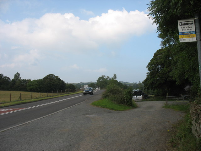 The south-bound bus stop at Croesfryn on the A5025