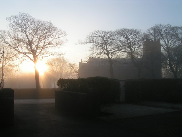 St John the Evangelist, Bradshaw in winter fog at sunrise