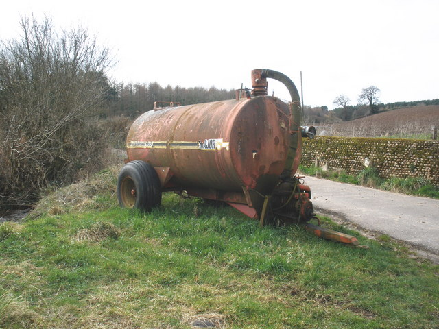 Slurry spreader, near Stowford Farm