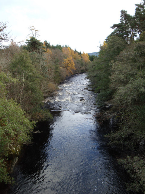 River Dulnain downstream of the bridge in Dulnain Bridge.