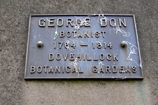 Plaque on a wall in Don Street, Forfar, Commemorating George Don, Botanist