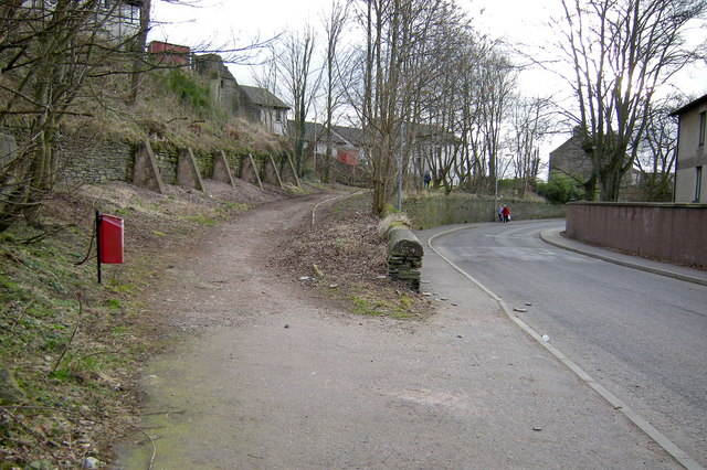 Carseburn Road, Forfar at its junction with the footpath leading to Victoria Street