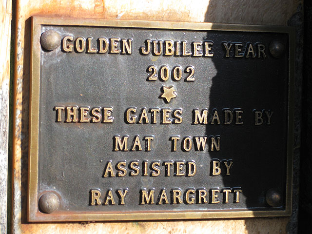 Golden Jubilee Plaque, gates of St. Michael's