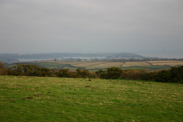 Falmouth, Carrick Roads, and Roseland Peninsula from near Trenoweth Lane