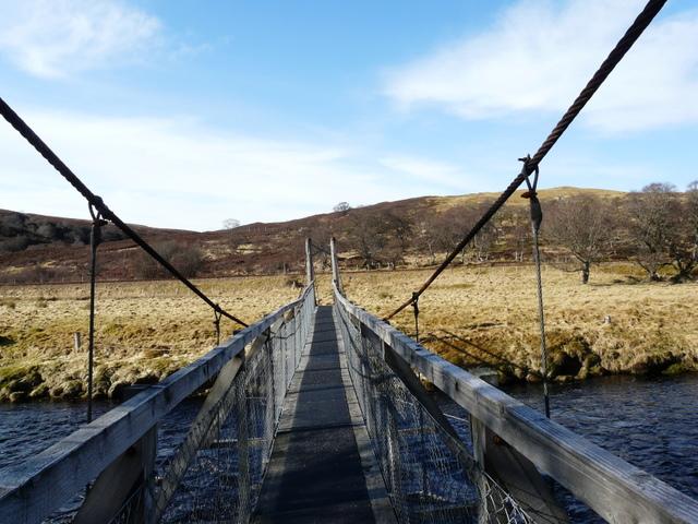 Footbridge across the River Helmsdale, near Kildonan