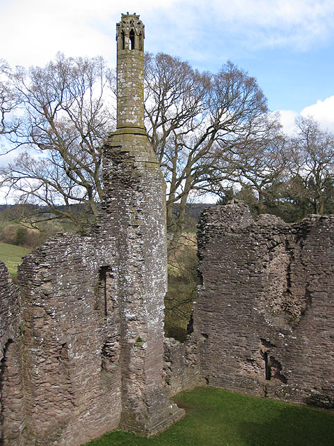 Tall, elegant 14th century chimney, Grosmont Castle