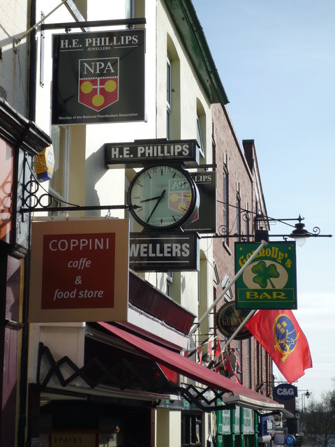 Various signs above shops on Gloucester Road, Ross-on-Wye
