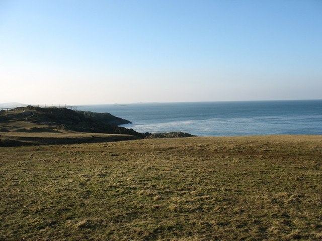 View SW along the cliff tops towards the Wylfa outfall
