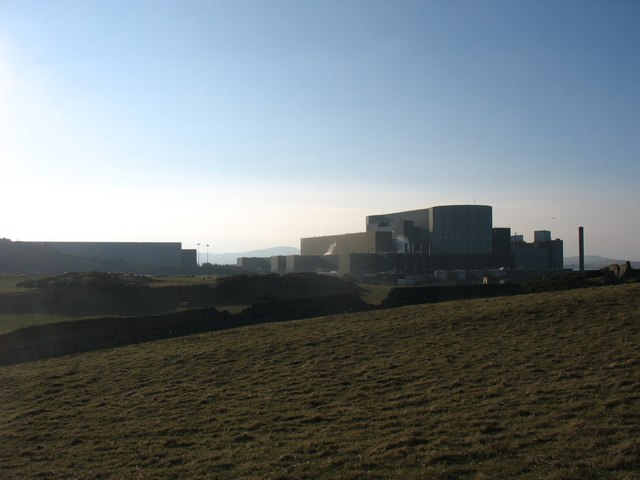 View across the fields towards the Wylfa Nuclear Power Station