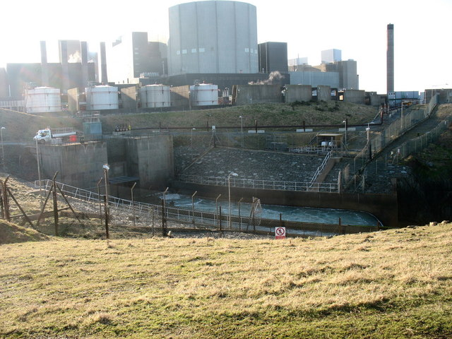 Cooling water outfall at Wylfa NP Station