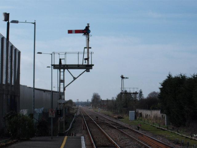 Semaphore signalling at Attleborough station