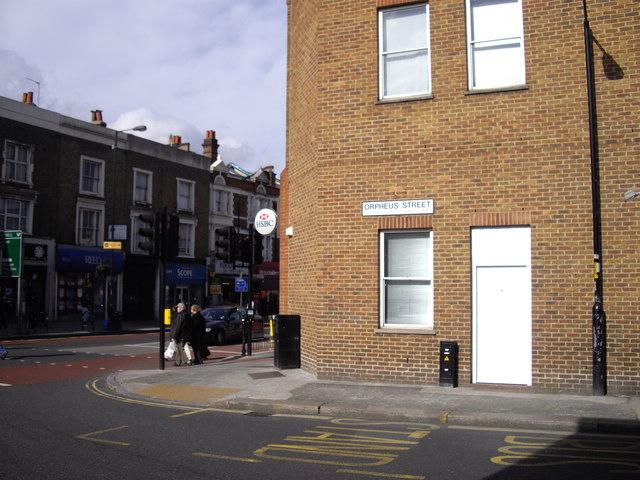 Junction of Orpheus Street and Denmark Hill