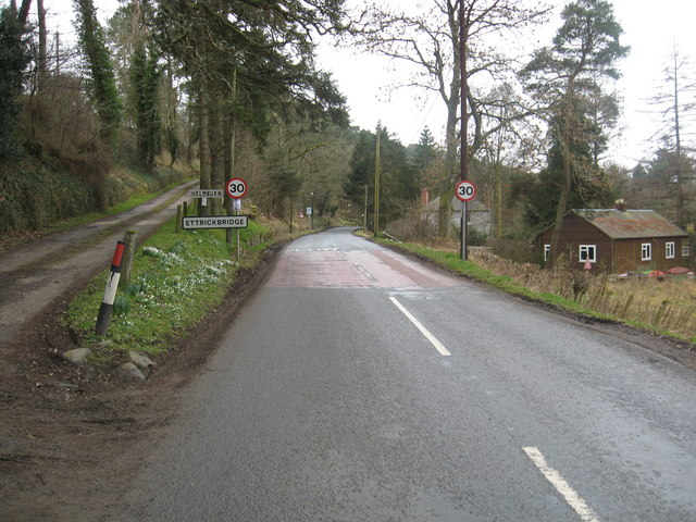 The B7009 road arrives at Ettrickbridge
