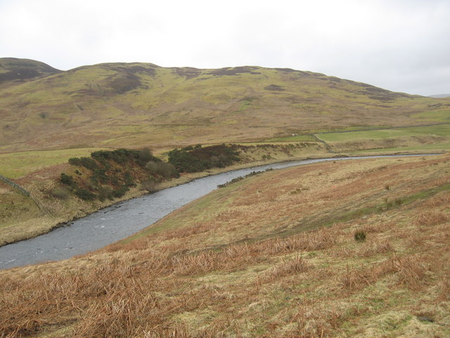 A scene of the hills and Ettrick Water in the Borders