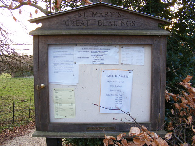 St.Mary's Church Notice Board, Great Bealings