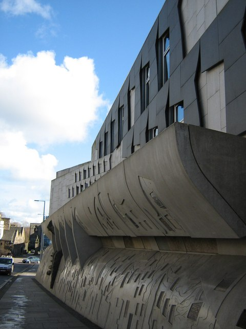 Side of the Scottish Parliament building
