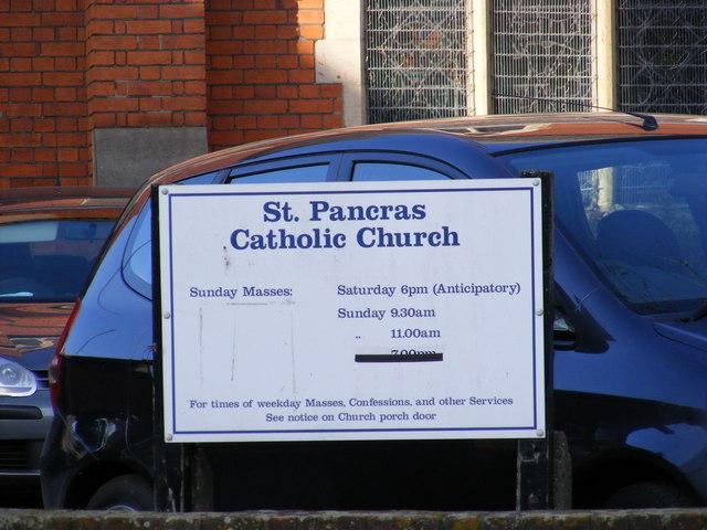 St.Pancras Catholic Church Notice Board, Ipswich