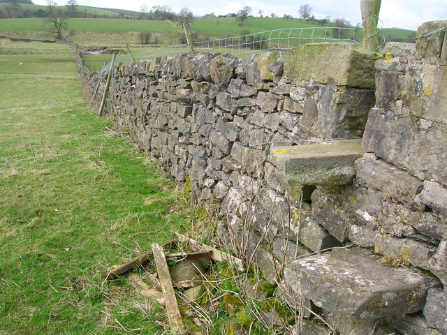 Wall with stile near Stock
