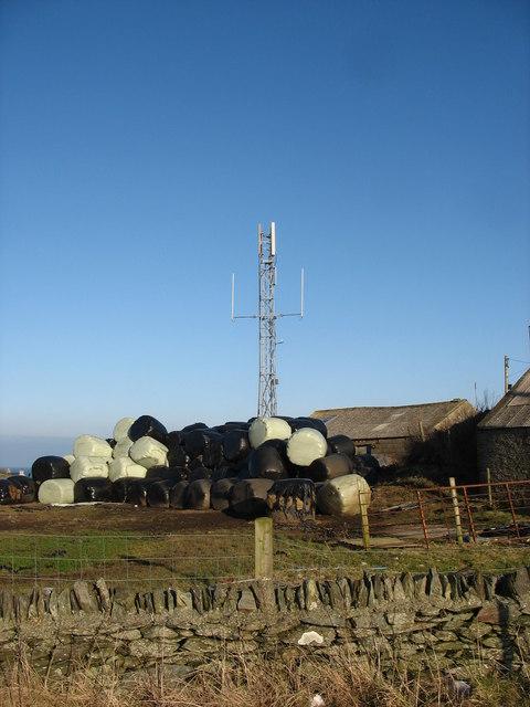 Bales and telephone mast