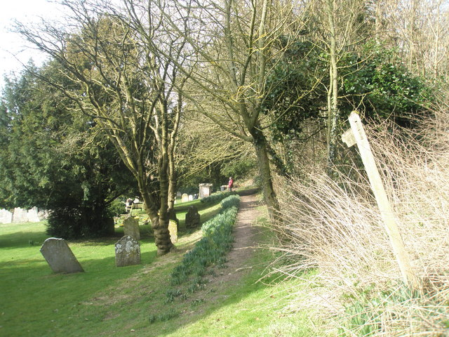 Looking westwards on the footpath above All Saints, East Meon