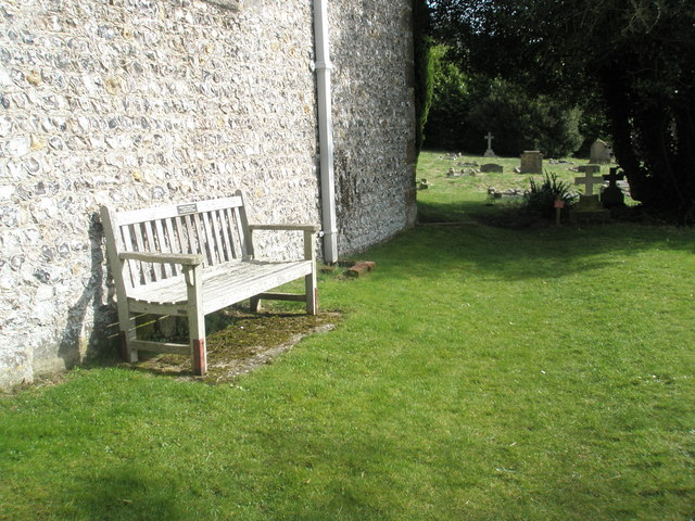 Seat outside All Saints, East Meon