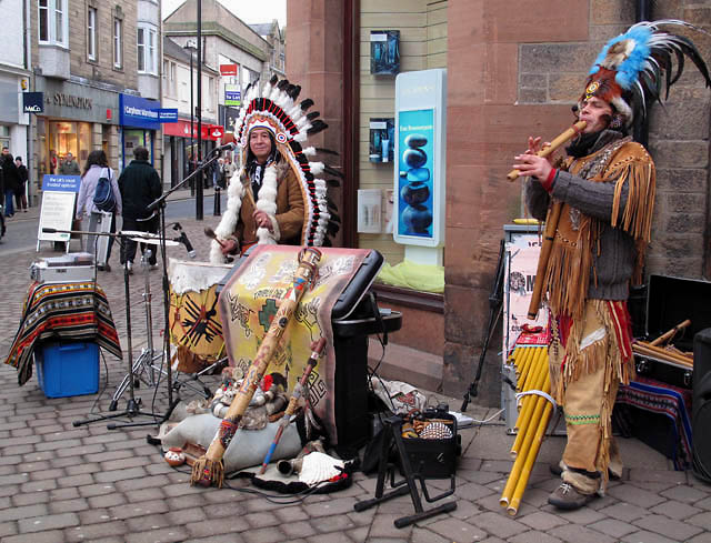 Street performers in Channel Street, Galashiels