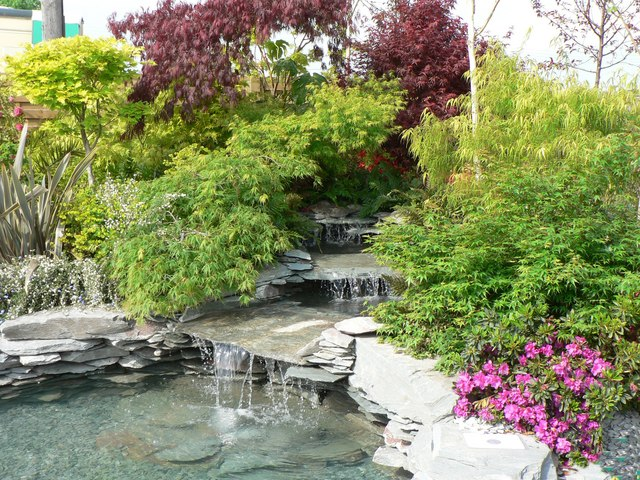 Water feature display at the Malvern Spring Show.