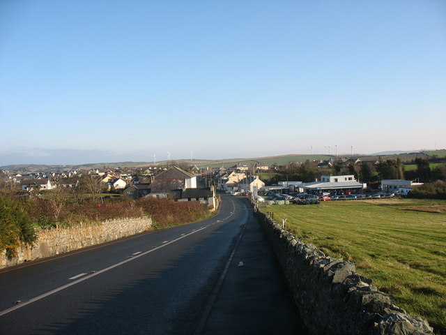 View east along the A5025 towards Cemaes