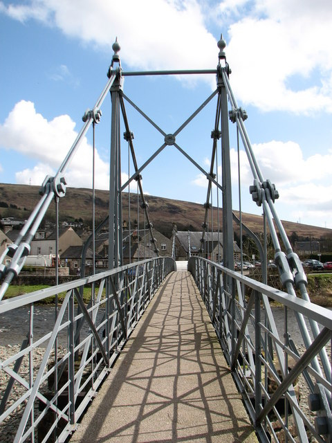 Footbridge over river in Langholm